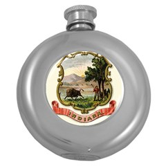 Historical Coat Of Arms Of Indiana Round Hip Flask (5 Oz) by abbeyz71