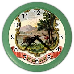 Historical Coat Of Arms Of Indiana Color Wall Clock