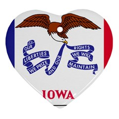 Flag Map Of Iowa Heart Ornament (two Sides)