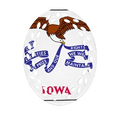 Flag Map Of Iowa Oval Filigree Ornament (two Sides) by abbeyz71