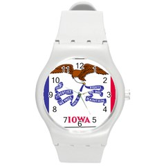 Flag Map Of Iowa Round Plastic Sport Watch (m) by abbeyz71