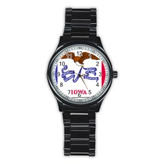 Flag Map Of Iowa Stainless Steel Round Watch