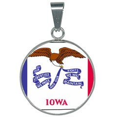 Flag Map Of Iowa 25mm Round Necklace by abbeyz71
