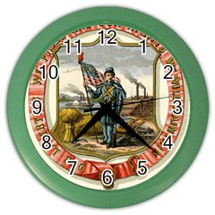 Historical Coat Of Arms Of Iowa Color Wall Clock