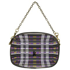 Playing With Plaid Kitten (purple) Halloween Pattern Chain Purse (one Side)