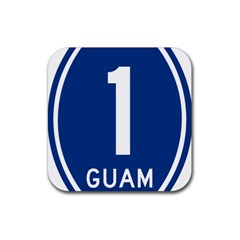Guam Highway 1 Route Marker Rubber Coaster (square)  by abbeyz71