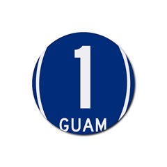 Guam Highway 1 Route Marker Rubber Coaster (round)  by abbeyz71
