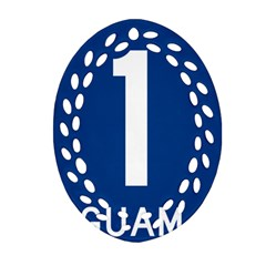 Guam Highway 1 Route Marker Oval Filigree Ornament (two Sides) by abbeyz71