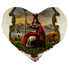 Historical Coat Of Arms Of California Large 19  Premium Heart Shape Cushions by abbeyz71