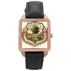 Historical Coat Of Arms Of Dakota Territory Rose Gold Leather Watch