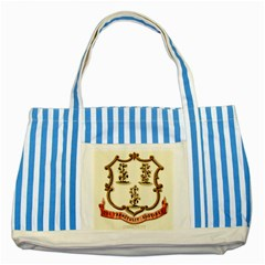Historical Coat Of Arms Of Connecticut Striped Blue Tote Bag