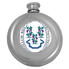 Great Seal Of Connecticut Round Hip Flask (5 Oz) by abbeyz71