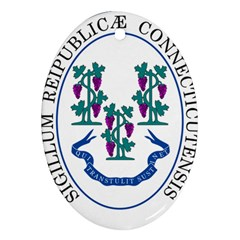 Great Seal Of Connecticut Oval Ornament (two Sides) by abbeyz71