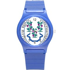 Great Seal Of Connecticut Round Plastic Sport Watch (s) by abbeyz71