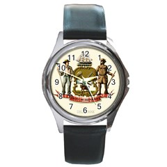 Historical Coat Of Arms Of Delaware Round Metal Watch by abbeyz71