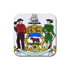 Delaware Coat Of Arms Rubber Coaster (square)  by abbeyz71