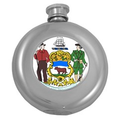 Delaware Coat Of Arms Round Hip Flask (5 Oz) by abbeyz71