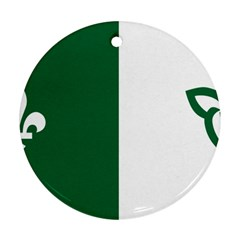 Franco Ontarian Flag Round Ornament (two Sides) by abbeyz71