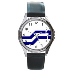 Flag Of The Franco Columbians Round Metal Watch by abbeyz71
