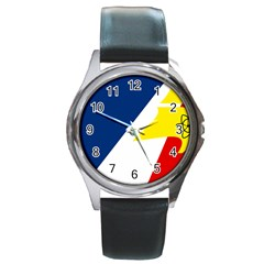 Franco Terreneuviens Flag Round Metal Watch by abbeyz71