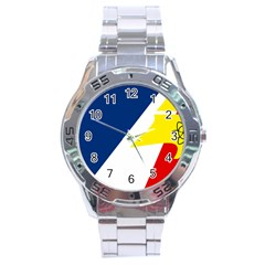 Franco Terreneuviens Flag Stainless Steel Analogue Watch by abbeyz71