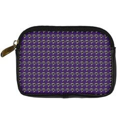Luv Machine Robot Houndstooth Pattern (purple) Digital Camera Leather Case by emilyzragz