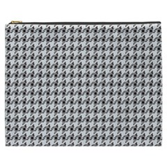Luv Machine Robot Houndstooth Pattern (grey) Cosmetic Bag (xxxl)