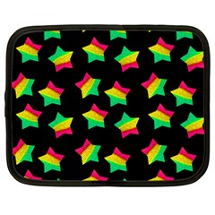 Ombre Glitter Pink Green Star Pat Netbook Case (large)