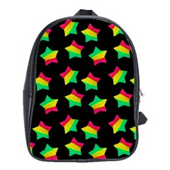 Ombre Glitter Pink Green Star Pat School Bag (large)