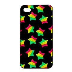 Ombre Glitter Pink Green Star Pat Apple Iphone 4/4s Seamless Case (black)