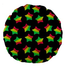 Ombre Glitter Pink Green Star Pat Large 18  Premium Round Cushions by snowwhitegirl