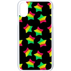 Ombre Glitter Pink Green Star Pat Apple Iphone X Seamless Case (white)