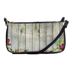 Floral Wood Wall Shoulder Clutch Bag