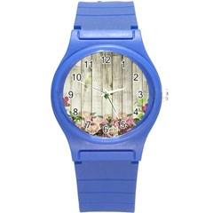 Floral Wood Wall Round Plastic Sport Watch (s) by snowwhitegirl