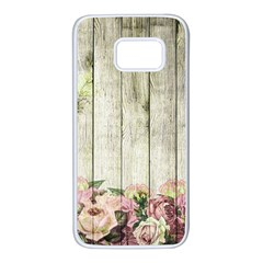 Floral Wood Wall Samsung Galaxy S7 White Seamless Case by snowwhitegirl