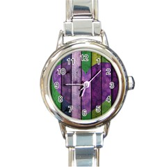 Wood Wall Heart Purple Green Round Italian Charm Watch