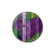 Wood Wall Heart Purple Green Hat Clip Ball Marker (4 Pack)