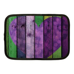 Wood Wall Heart Purple Green Netbook Case (medium)