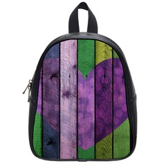 Wood Wall Heart Purple Green School Bag (small) by snowwhitegirl