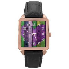 Wood Wall Heart Purple Green Rose Gold Leather Watch