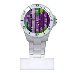 Wood Wall Heart Purple Green Plastic Nurses Watch by snowwhitegirl