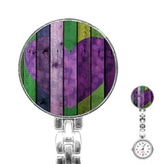 Wood Wall Heart Purple Green Stainless Steel Nurses Watch by snowwhitegirl