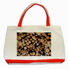 Wood Stick Piles Classic Tote Bag (red)