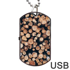 Wood Stick Piles Dog Tag Usb Flash (two Sides)