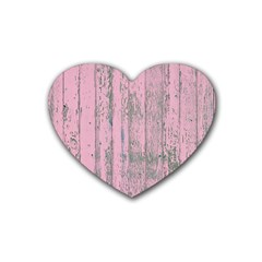 Old Pink Wood Wall Heart Coaster (4 Pack)