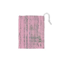 Old Pink Wood Wall Drawstring Pouch (xs) by snowwhitegirl