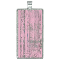 Old Pink Wood Wall Rectangle Necklace by snowwhitegirl