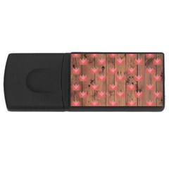 Zen Lotus Wood Wall Rectangular Usb Flash Drive
