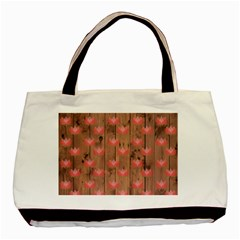 Zen Lotus Wood Wall Basic Tote Bag (two Sides)