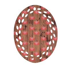 Zen Lotus Wood Wall Oval Filigree Ornament (two Sides)